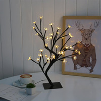 идеи ночных огней оптовых-USB 18 дюймов Cherry Blossom Bonsai Tree, 48 светодиодные лампы, теплый белый свет, Идеальный Ночь идея подарка