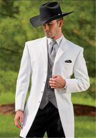 terzi elbiseli kravat toptan satış-Erkekler 3pieces (Ceket + Pantolon + Vest + Tie) Prom Masculino Trajes De Hombre Blazer için Tailor Made Kırmızı Uzun Coat Düğün Suit