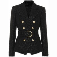 chaqueta brillante al por mayor-Más nuevo Baroque Fashion 2019 diseñador Blazer doble de las mujeres del cordón de la correa Sparkle chaqueta de lana Blazer oficina