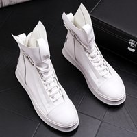 Wholesale lace up boots korean style for sale - Group buy Hot Sale Korean style men fashion party nightclub dress cow leather shoes flat platform shoe white youth martin ankle boots motorcycle