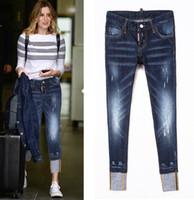 ingrosso jeans scavavano il merletto nero-Donne Cowboy pantaloni di lusso del celebre Paint Splattered Jeans danneggiato con Particolare Patchwork Sexy Twist Fit