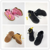 schwarze lederjungenschuhe großhandel-2019 Babykinder Katze Junioren Stiefel Reifen Leder Kinder Junge Mädchen hohe Qualität klassischer gelber, rosa, schwarz Outdoor-Freizeitschuh