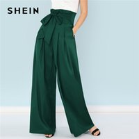 ae6c0cca3c8e4 Shein Green Elegant Office Lady Self Belted Box Pleated Palazzo High Waist  Minimalist Wide Leg Pants Autumn Casual Trousers C19041701