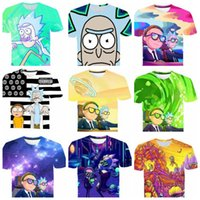 camisas 3d t para homens venda por atacado-Rick e Morty 3D camiseta Homens Mulheres Verão Anime T-shirt de Manga Curta T-shirt O Pescoço Tops adolescente crianças grandes adultos t-shirt KKA6678