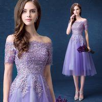 robes de soirée mauves achat en gros de-Violet hors épaule perles paillettes organza dentelle illusion manches courtes à lacets robe longueur au genou soirée spectacle de bal robe de soirée, plus la taille