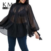 большие черные фонари оптовых-Kissmilk Плюс размер 2018 женщины сексуальной черный Tops Большого размером фонарики рукав Блузка Over O-образный вырез Рукав три четверти Блузы