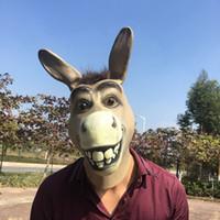 festa dos animais do zoológico venda por atacado-Engraçado Adulto Assustador Engraçado Burro Cabeça de Cavalo Máscara De Látex Halloween Animal Cosplay Zoo Adereços Partido Traje Máscara Bola Traje