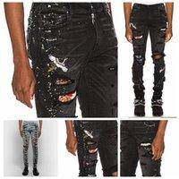 denim usa jeans großhandel-2019 amiri jeans usa größe gute qualität herren designer jeans slim fit motorrad biker denim für männer modedesigner hip hop herren jeans