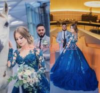 Wholesale exquisite brides wedding dresses for sale - Group buy Exquisite Arabic Lace Applique Wedding Dresses Sheer Train Blue A Line Long Sleeve Bride Dress Cheap Vestido de novia Bridal Ball Gowns