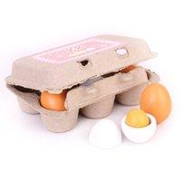 ovo de cozinha de brinquedo venda por atacado-Simulação Brinquedos Egg Duck Grupo 6 Apenas Boxed Crianças Casa De Madeira Brinquedos Conjunto De Ovos Mini Cozinha Panelas Fingir Alimentos Cooking Toy