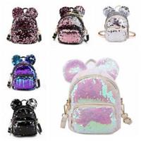 Wholesale cute knapsack bags resale online - Women Sequins Ear Backpack Cute Bear Ears Double mini cartoon Shoulder Bag Children Girls Sequined Travel School Knapsack AAA1684