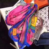 borlas bufanda púrpura al por mayor-Nueva bufanda de seda de lujo para mujer 2019 Primavera Diseñador Caballo Bufandas largas abrigo con etiqueta 180x90cm Mantones