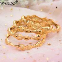 ingrosso bracciali femminili-WANDO 4Pcs Gioielli di lusso da sposa color oro Braccialetti di pesce Donne africane etiopiche Dubai Bracciale Regalo da donna Bracciale da donna