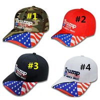 Wholesale cotton sun hats for women resale online - Donald Trump Sun Caps For Summer Men Women Keep America Great Hat Stars USA Flag Baseball Cap D Embroidery Letters Snapback VisorC7108