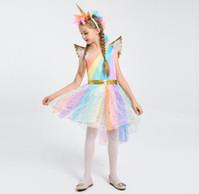 kız çocuklar altın elbiseler toptan satış-Çocuklar Cosplay Giyim Kızlar unicorn Gökkuşağı Elbise Unicorn Kafa Melek Kanatları prenses elbise Takımları Unicorn Kafa + 1 Altın Kanatları KKA5502