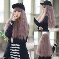 Wholesale purple hair lolita cosplay online - Women s Lolita Long Rhapsody Curly Wavy Full Wig Hair Cosplay Taro Purple Wigs