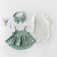 bebek saç parçaları toptan satış-Yenidoğan Çocuk giyim Bebek kızın Pamuk Etek Üst Giyim ve Yay Saç Bandı Üç parçalı Takım çocuk Elbiseler Hediye için Bebek Bebek