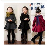 vestidos de inverno preto vermelho para meninas venda por atacado-Retail 2-8 Girls Dress Inverno Jacket Coats Preto Vermelho Cinza grossa de veludo mangas compridas Bow Princesa Casacos Hot Qualidade