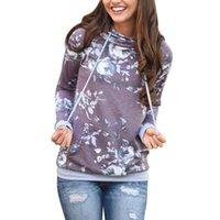 dame blumen-sweatshirt groihandel-Damen Herbst FashionHoodies Langarm Sweatshirt Damen Kapuzen Blumendruck Grau Damen Pullover Kwaii Weibliche Oberteile