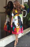 Verano Ocasional Vestido De Las Mujeres Diseñador Retrato Pintado A Mano Damas De Impresión Sueltos Vestidos Cortos Vestidos De Manga Larga