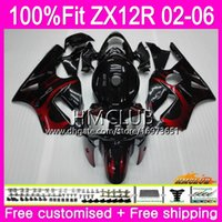 Wholesale zx12r red fairing for sale - Group buy Injection For KAWASAKI NINJA ZX1200 CC ZX12R HM ZX R R CC ZX R Fairing Red flames