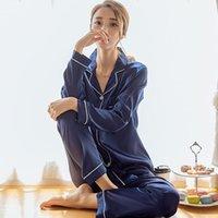ingrosso indumenti da notte di seta femminile-Pigiama da donna in raso di seta pigiama set manica lunga pigiameria pigiama pigiama tuta da donna sonno set due pezzi loungewear taglie fortiMX190822