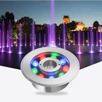 ingrosso ip68 prezzo leggero-JML Underwater fontana luce LED 9W bianco DC24V IP68 luci plaza in acciaio inox illuminazione esterna prezzo poco costoso