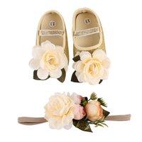 bebek kızı ayak çiçekleri toptan satış-Bebek Ayakkabıları Erkek Kız Ayakkabı Çiçek Yay Nefes Galoş Kollu Bebek Ayak Dekorasyon Altın Gümüş Pamuk 28
