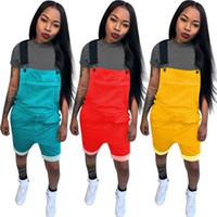 mono de talla grande al por mayor-Diseñador de las mujeres monos más el tamaño del mono mamelucos pantalones cortos de una pieza bolsillo mono S-2XL ropa de verano color caramelo 865