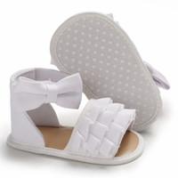 pamuklu yenidoğan sandaletleri toptan satış-Bebek Kız Sandalet Yaz Bebek Kız Ayakkabı Pamuk Tuval Noktalı Yay Sandalet Yenidoğan Ayakkabı Plaj