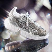 dahil elmaslar toptan satış-Lüks Elmas Sneakers Elmas Ayakkabı Kadın Lüks Rahat Ayakkabılar Lüks Bayan Ayakkabı Hakiki Deri Kutusu Dahil