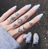 Wholesale celtic compass jewelry for sale - Group buy Retro Set Silver Gold Boho Mermaid Tail Compass Gemstone Midi Finger Knuckle Rings For Women Lady Jewelry