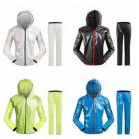 Wholesale adult pvc raincoat for sale - Group buy Outdoor split raincoat rain pants suit adult waterproof PVC mountaineering snow riding hooded poncho bicycle raincoat LJJZ46