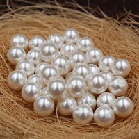 Wholesale half round white pearl resale online - 2019 ABS imitation pearls A large number of high grade non peeling waterless half hole pearl A goods DIY jewelry loose beads