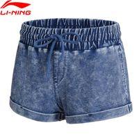 спортивный хлопок spandex оптовых- Women Denim Shorts Fitness Loose Fit 56% Cotton 38% Polyester 6% Spandex LiNing Sport Exercise Shorts AKLN118 WKD578