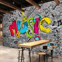 ingrosso mattone di pianta-Carta da parati murale personalizzata Creativo Graffiti Art Music Muro di mattoni Pittura KTV Bar Soggiorno Decorazione della parete della casa della carta da parati Pianta