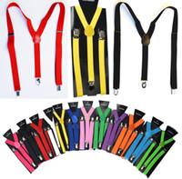 ingrosso cintura elastica verde-2,5X100CM Donna / Uomo Y-back Bretella regolabile per adulto Clip-on Bretelle elastiche Cinture per bambini