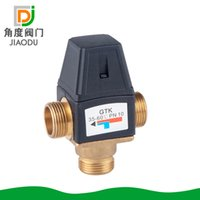 Wholesale temperature control valves resale online - DN20 DN25 brass inside and outside the wire temperature mixing valve temperature control valve water heater mixing
