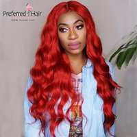 Wholesale brazillian human hair wigs for sale - Group buy Preferred Red Lace Front Human Hair Wigs brazillian wigs Long Wave Lace Front Wig For Black Women PrePlucked Remy Hair