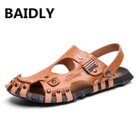 мужские кожаные сандалии оптовых-BAIDLY Mens Sandals Leather Beach Sandals  Men Casual Shoes Split Leather Men's Slippers Summer Big Size Men's Shoes