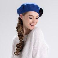 boina elegante al por mayor-otoño e invierno nuevas boinas de lana de las mujeres europeas y americanas arco elegante sombrero caliente