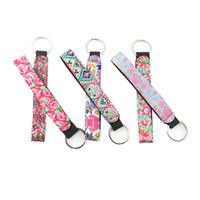 frente rosa venda por atacado-5 pcs Lilly Pulitzer Chaveiro Neoprene Rose Bag Charmer Keychain Com Fivelas De Metal Na Frente para o Casamento Favorece Presente Para Convidado