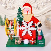 Wholesale craft music boxes for sale - Group buy 2019 Hot Selling Newest Christmas Gifts High Grade Wooden Christmas Tree Snowman Windmill Music Box Craft Accessories