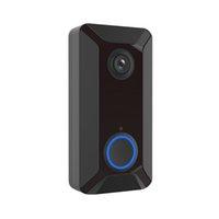 haus-videokameras großhandel-Neue V6 wifi Türklingel Smart Wireless 720 P Videokamera Cloud Storage Türklingel Cam wasserdicht Home Security Haus Glocke schwarz
