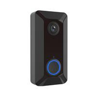 Wholesale waterproof doorbells resale online - New V6 wifi Doorbell Smart Wireless P video camera Cloud storage door bell cam waterproof home security house bell black