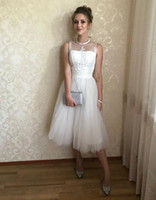 Wholesale plus size tulle wedding dress for sale - Group buy 2019 real picture white A Line Wedding Dresses sheer neckline with tulle lace beaded Tea length wedding Bridal gowns vestidos de novia