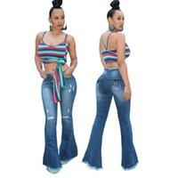 колокольчики украшают оптовых-Модные женские брюки джинсовых Женщины украшают кнопки ZippeR рваного отверстия Bodycon клубной вечеринки случайного стрейч клеш клеш длинные брюки джинсы
