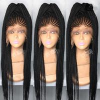 ingrosso intrecciatura dei capelli lunghi-Africa donne stile cornrows Treccia parrucca lunga 200 gradi piena micro treccia parrucche con i capelli del bambino jumbo treccia parrucca frontale in pizzo