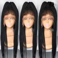 trenzado de pelo largo al por mayor-Las mujeres de África al estilo cornrows trenzan peluca larga 200 densidad completa micro trenzas pelucas con pelo de bebé jumbo trenza peluca frontal de encaje