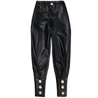 ingrosso pantaloni in pelle donna-Pantaloni di Harem del cuoio dell'unità di elaborazione del nero di alta qualità di nuovo modo per la personalità casuale dei pantaloni a vita alta delle donne